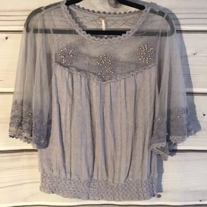 Free people beaded mesh lilac top size M